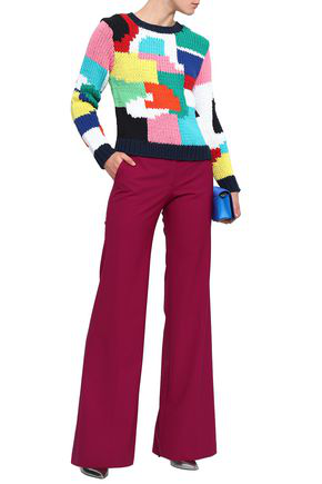 Milly Woman Intarsia-knit Cotton-blend Sweater Multicolor