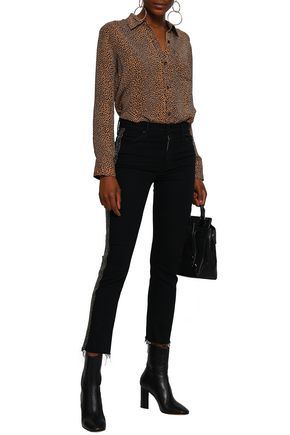 Mother Woman Cropped Embellished High-rise Skinny Jeans Charcoal