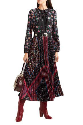 Red Valentino Redvalentino Woman Pleated Printed Crepe De Chine Maxi Dress Black
