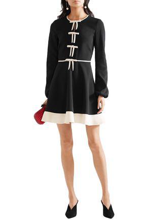 Red Valentino Redvalentino Woman Bow-embellished Stretch-crepe Mini Dress Black