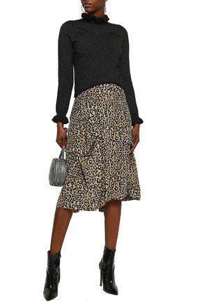 Shrimps Woman Metallic Wool-blend Turtleneck Sweater Black