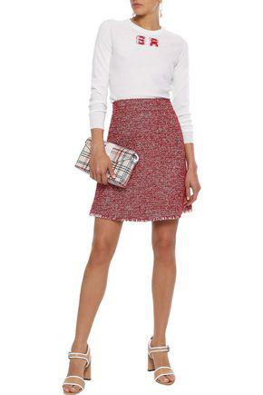 Sonia Rykiel Frayed Intarsia Wool Sweater In Ivory