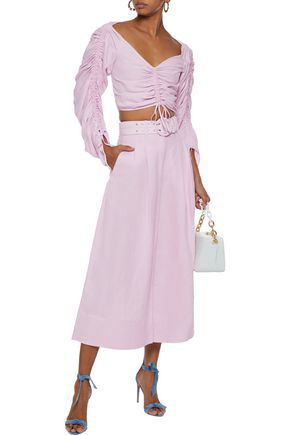 Nicholas Woman Belted Silk And Linen-blend Culottes Lilac
