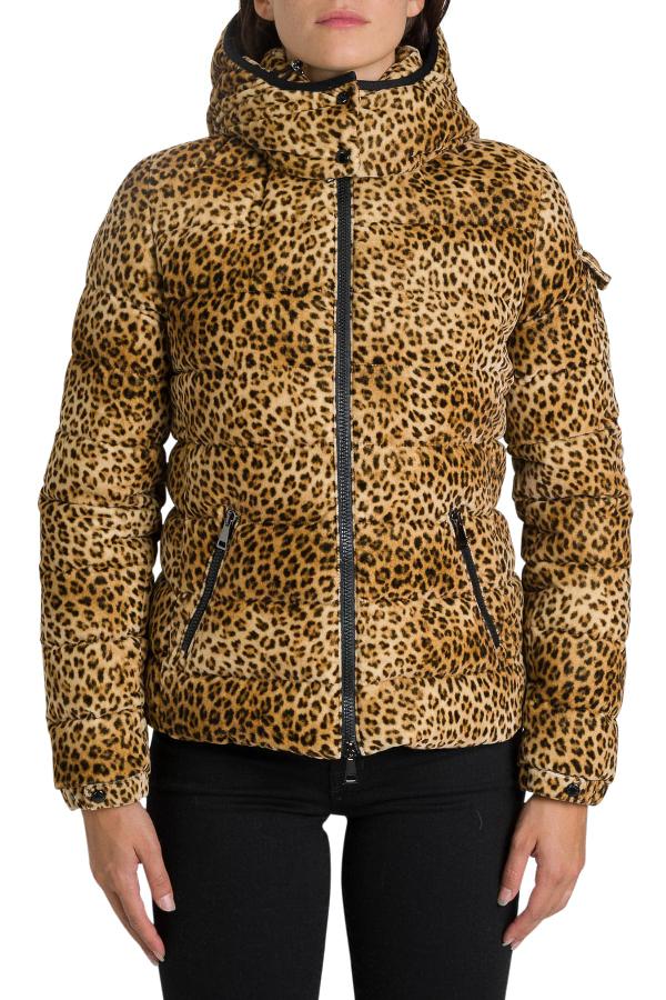 Moncler Bady Leopard Puffed Jacket In Beige