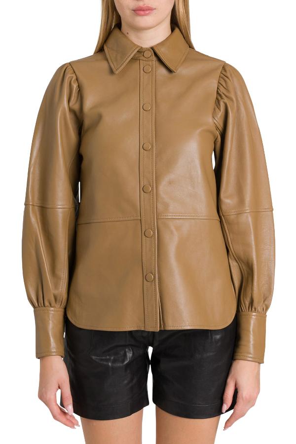 Ganni Leather Shirt In Beige