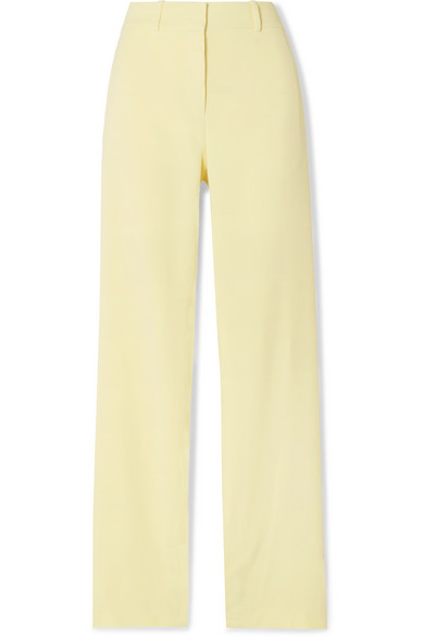 Dion Lee Button-embellished Stretch-cady Pants In Pastel Yellow