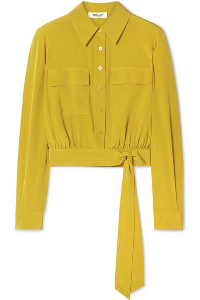 Diane Von Furstenberg Everlynn Belted Silk Crepe De Chine Shirt In Marigold