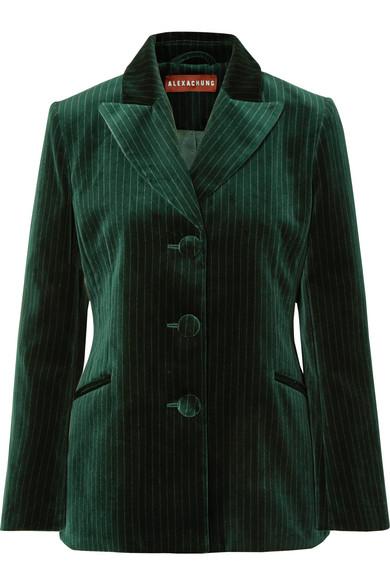 Alexa Chung Metallic Pinstriped Cotton-velvet Blazer In Dark Green