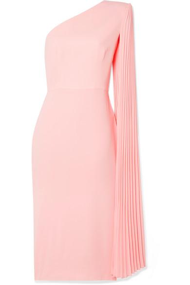 Alex Perry Lorin One-shoulder Crepe Midi Dress In Pastel Pink