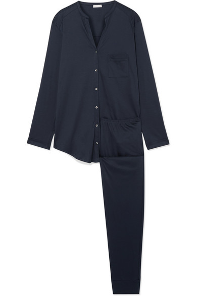 Hanro Pure Essence Mercerized Cotton-jersey Pajama Set In Midnight Blue
