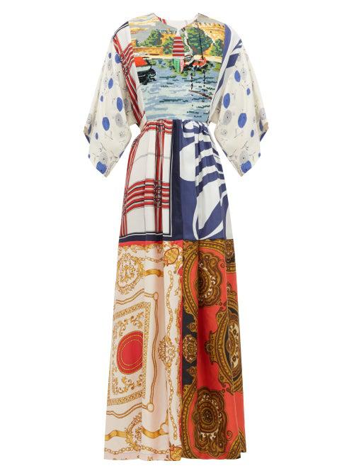 Rianna + Nina Embroidered-bib Patchwork Printed-silk Dress In Multi