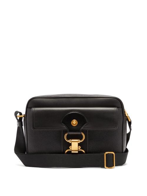 Versace Medusa-plaque Grained-leather Messenger Bag In Black
