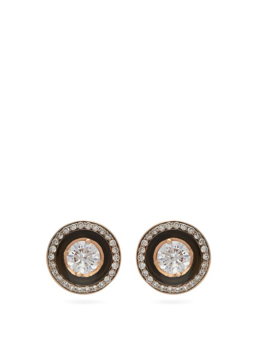 Selim Mouzannar Mina Diamond & 18kt Rose-gold Earrings In Black