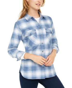 Pendleton Cotton Elbow-patch Plaid Flannel Shirt In Vintage Indigo Ombre