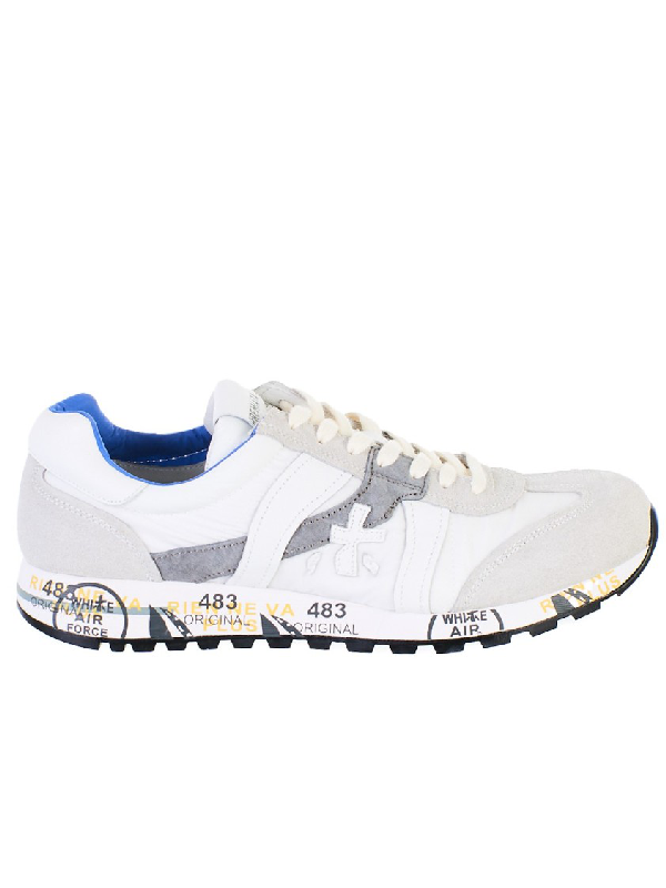 Premiata Lucy Nylon And Suede Sneakers In White