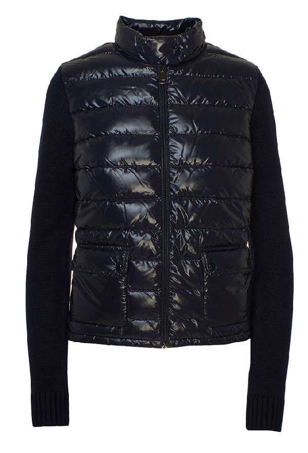 Moncler Blue Down Jacket/sweater In Black