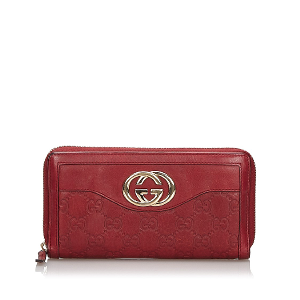 Gucci Ssima Sukey Zip Around Wallet In Red