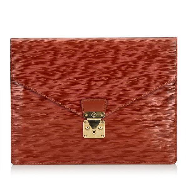 Louis Vuitton Epi Porte Documents Senateur In Red