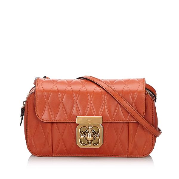 ChloÉ Leather Elsie Crossbody Bag In Brown