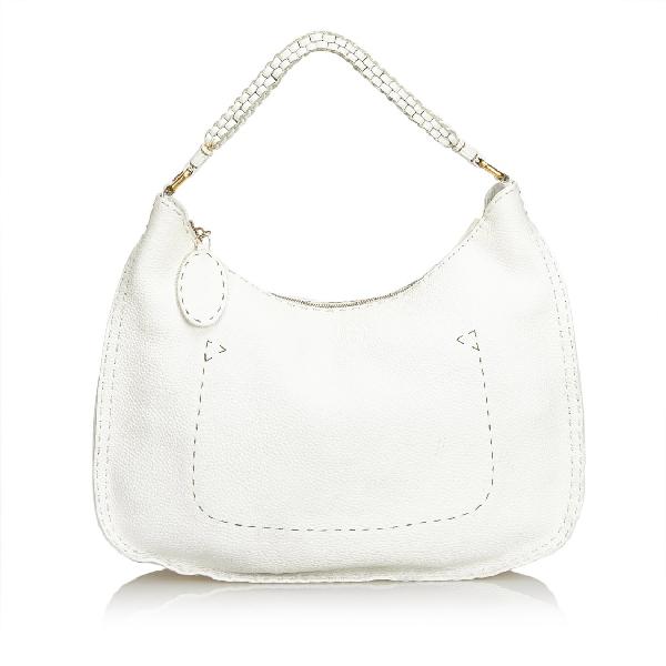 Fendi Leather Selleria Hobo Bag In White