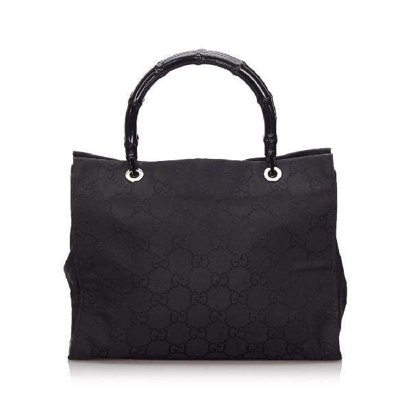 Gucci Gg Canvas Bamboo Handbag In Black