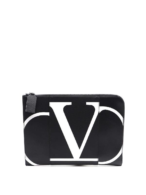 Valentino Garavani V Logo Leather Document Case In Black