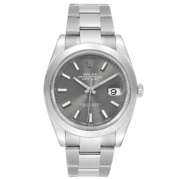 Rolex Datejust 41 Grey Dial Steel Mens Watch 126300 Box Card