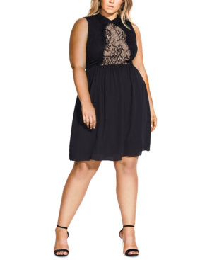 City Chic Trendy Plus Size Tiffany Lace-detail Dress In Black