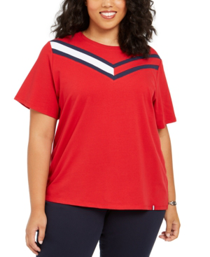 Tommy Hilfiger Sport Plus Size Colorblocked T-shirt In Rich Red