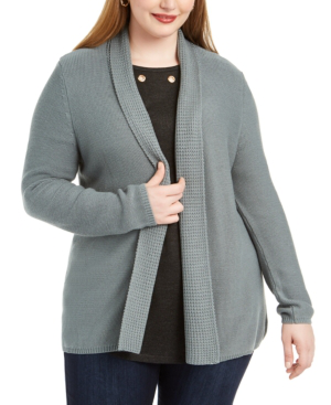 Belldini Plus Size Mixed-knit Cardigan In Silver Moss