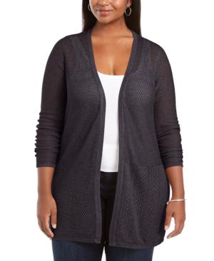 Belldini Plus Size Open Weave Cardigan Sweater In Heather Charcoal