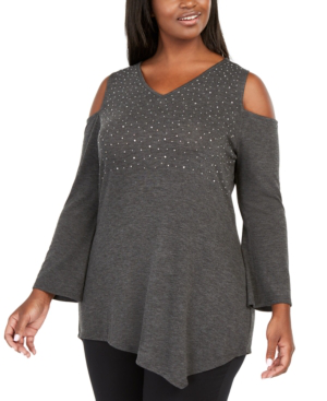 Belldini Plus Size Embellished Cold-shoulder Tunic In Heather Charcoal