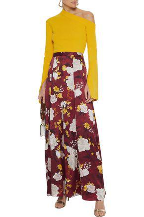 Alice And Olivia Athena Floral-print Chiffon-paneled Hammered-silk Maxi Skirt In Brick