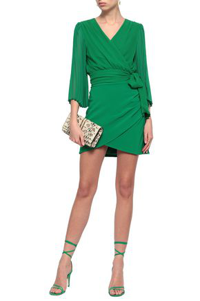 Alice And Olivia Wrap-effect Stretch-crepe Mini Skirt In Green