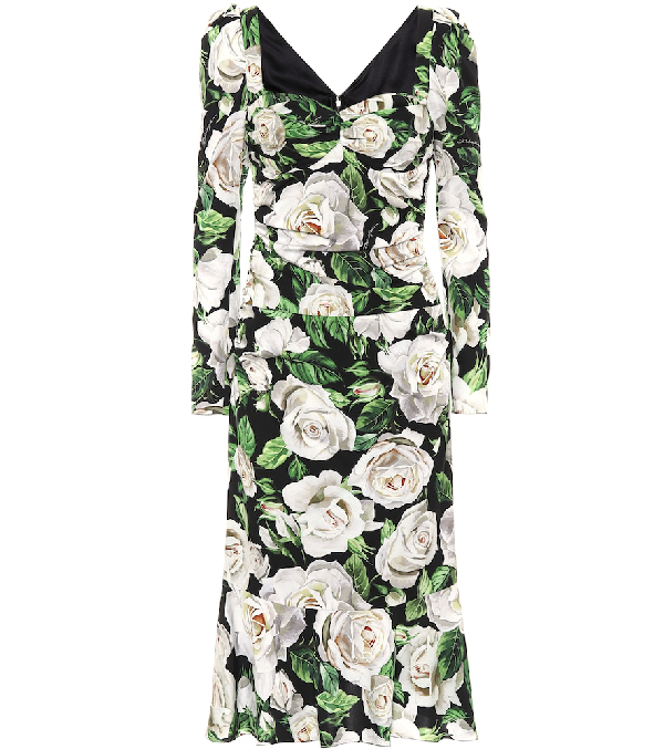 Dolce & Gabbana Floral Stretch-silk Dress In Green