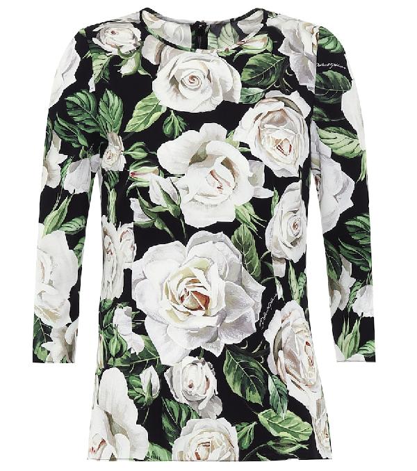 Dolce & Gabbana Floral Stretch-silk Top In Black