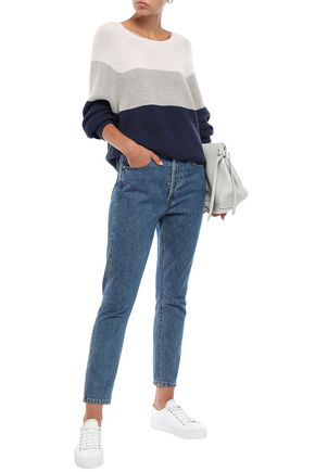 Duffy Woman Color-block Wool-blend Sweater Midnight Blue