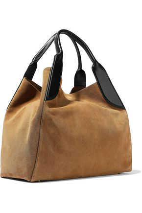 Lanvin Woman Medium Cabas Leather-trimmed Suede Tote Sand