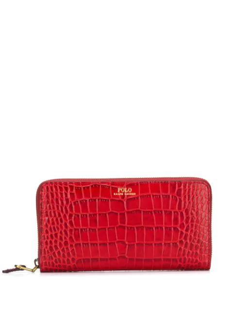 Polo Ralph Lauren Crocodile Effect Wallet In Red