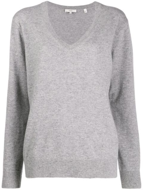 Weekend V Neck Cashmere Sweater In Grey