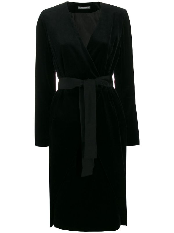 Alberta Ferretti Velvet Wrap In Black