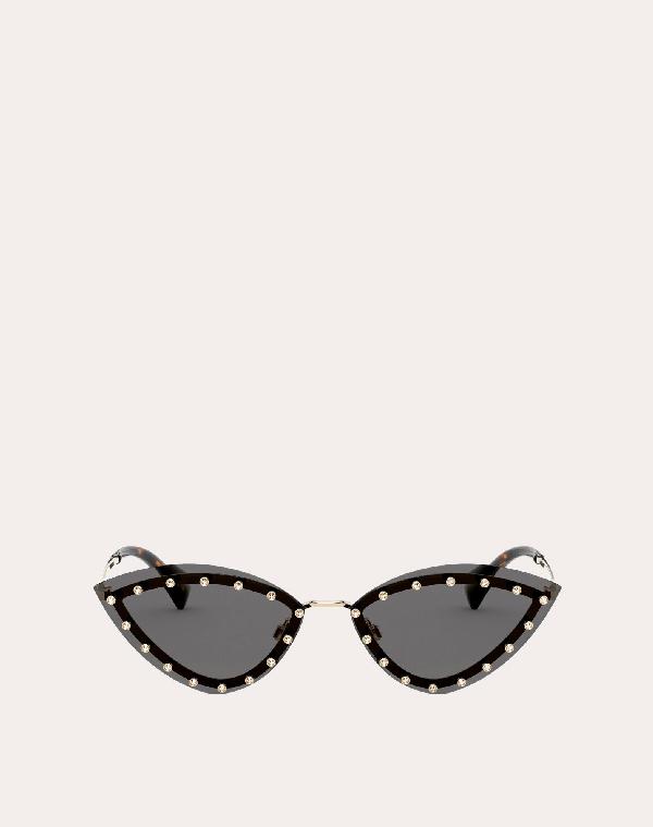 Valentino Occhiali Triangular Metal Glasses With Crystal Studs In Black