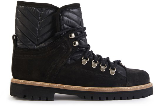 Ganni 30mm Winter Hiking Leather & Suede Boots In Black