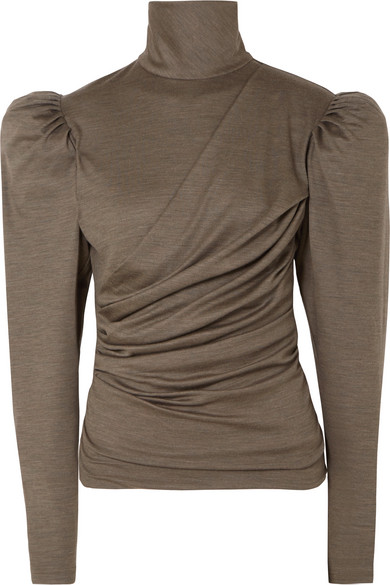 Isabel Marant Davina Draped Wool Turtleneck Top In Army Green