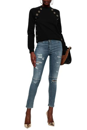 Balmain Eyelet-embellished French Cotton-terry Sweatshirt In Black