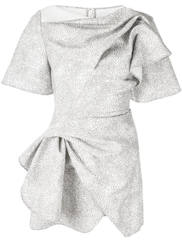 Acler Bronte Wrap-effect Mini Dress In White ,black