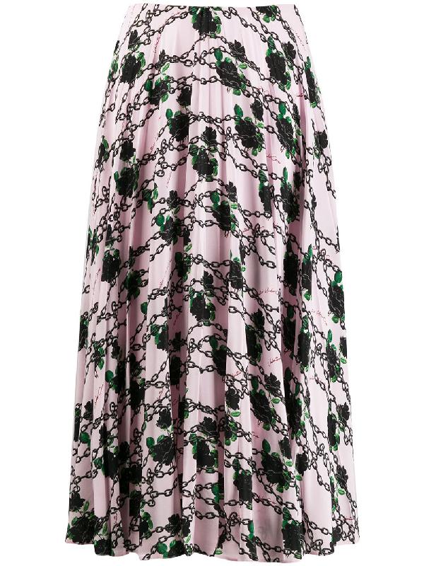 Valentino + Undercover Pleated Printed Silk Crepe De Chine Midi Skirt In 粉色