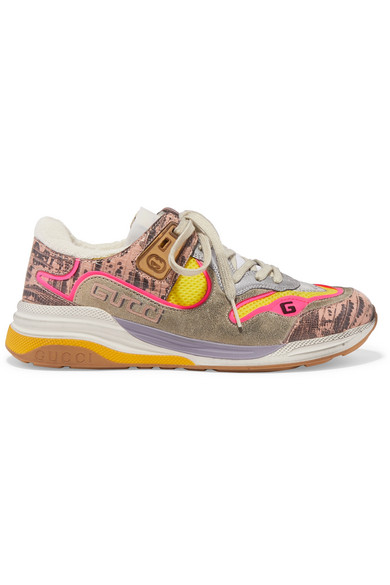 Gucci Ultrapace Snake-effect Leather, Mesh And Distressed Suede Sneakers In 5761 Grey/yellow/pink