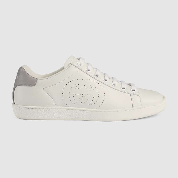 Gucci Women's Shoes Leather Trainers Sneakers Ace Gg In White
