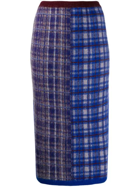 Chiara Bertani Intarsia Knit Pencil Skirt In Blue
